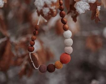 Button necklace in brown & mustard gradient, handmade in Europe, KangarooCare