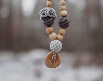 Gift for Her - Grey & Charcoal Flower Mama Necklace / Necklace for Mom to wear, Handmade in Europe, KangarooCare