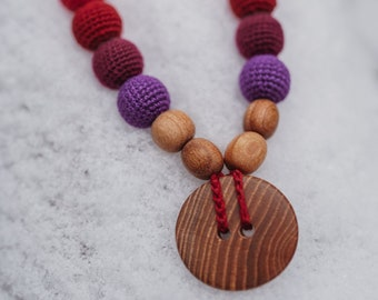 HANDMADE Very Berry BUTTON NECKLACE, apple wood