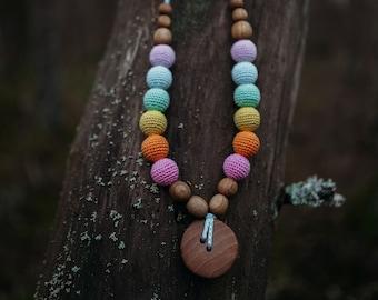 Double Aqua Rainbow Wood Necklace - Oak Wood - Kangaroo Care