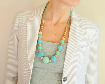 Mint & Bright Blue Nursing Necklace by Kangaroo Care