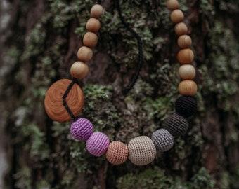 Purple & Black Gradient Necklace - Apple Wood - Handmade by KangarooCare in Europe