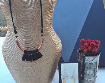 Black Fringe Necklace < Copper Bibb Tassel Necklace