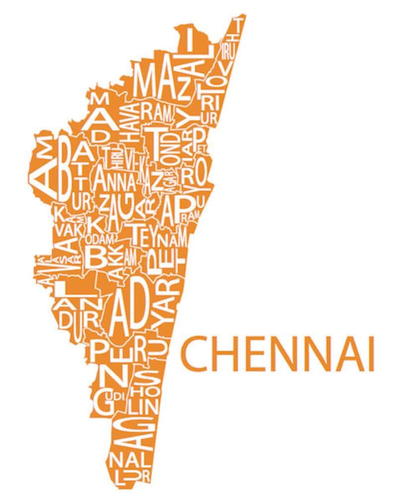 Typographic Map of Chennai, Tamil Nadu, India