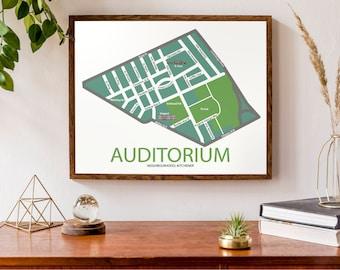 Typographic Map of the Auditorium Neighbourhood of Kitchener, Ontario | Neighbourhood Map | Modern Map Print | Custom Map Poster