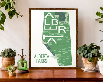 Typographic Map of Parks in Alberta  | Alberta Parks Map | Camping Map | Hiking Map | Canada Map | Custom Map Poster | Personalized Map Art