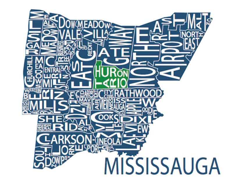 Typographic Map Of Mississauga Ontario Canada Etsy