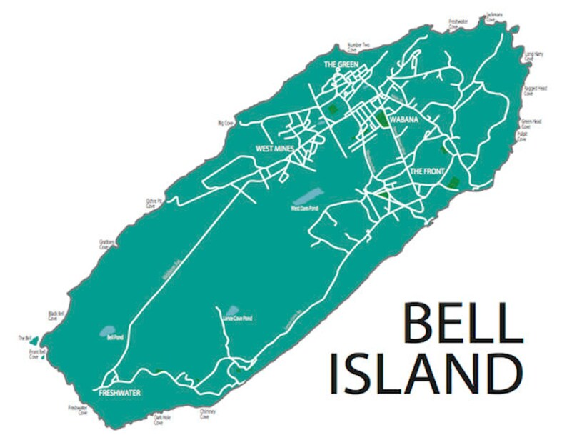 Typographic Map of Bell Island Newfoundland Canada | Etsy on