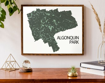 Typographic Map of Algonquin Park, Ontario  | Canadian Map | Custom Map Poster | Personalized Map Print | Camping Decor