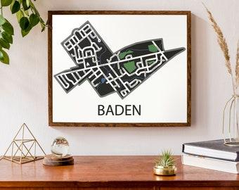 Typographic Map of Baden, Ontario | Wilmot Township Map | City Map Print | Waterloo Region Map | Street Level Map | Custom Map Poster | Art