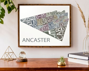 Typographic Map of Ancaster, Ontario | Neighbourhood Map | Hamilton City Map | Ontario Town Map | Custom Map Poster | Personalized Map Art