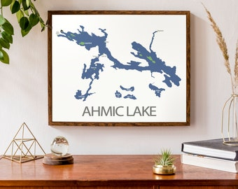 Typographic Map of Ahmic Lake, Ontario | Parry Sound Cottage Country Map | Canadian Map | Custom Map Print | Personalized Map Art