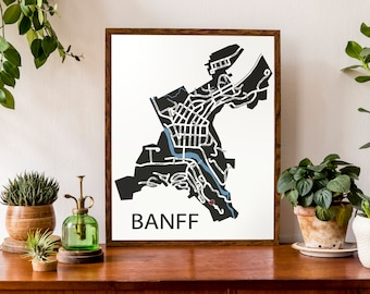Typographic Map of Banff, Alberta | Canadian Rockies Town Map | City Map Print | Canada Map | Custom Map Poster | Personalized Map Art