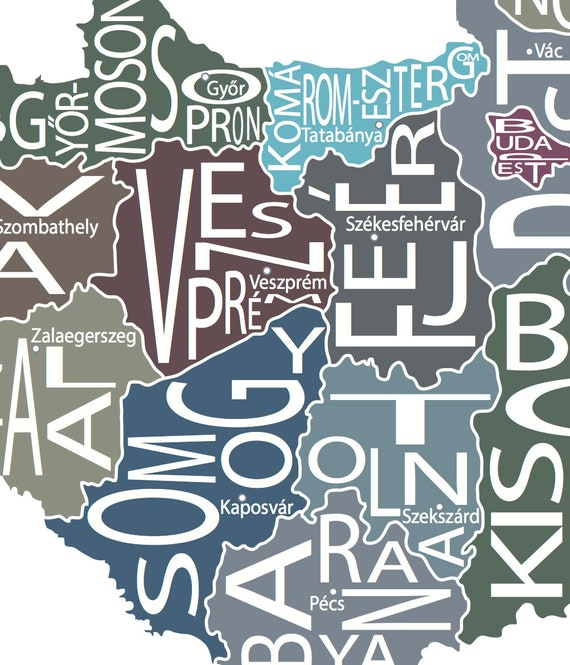 Typographic Map Of Hungary Etsy