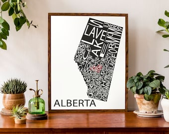 Typographic Map of Alberta, Canada | Provincial Map | Canadian Map | Custom Map Poster | Personalized Map Print