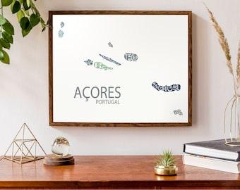 Typographic Map of Azores Islands, Portugal | Portuguese Republic Map Print | São Miguel | Terceira | São Jorge | Faial | Custom Art Poster
