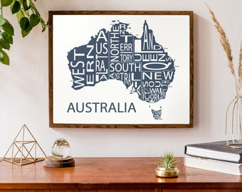 Typographic Map of Australia | Aussie Regional Map with Capitals | Country Map Print | Custom Map Poster | Personalized Map Art