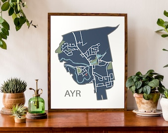 Typographic Map of Ayr, Ontario | North Dumfries Community Map | Region of Waterloo Township Map | Custom Map Poster | Personalized Map Art