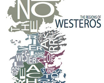 Typographic Map of Westeros, Game of Thrones