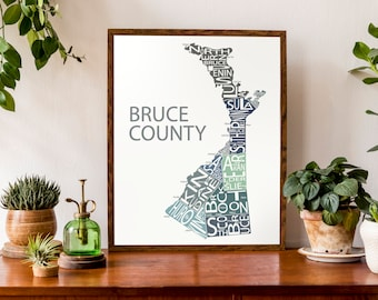 Typographic Map of Bruce County, Ontario | County Map Print | Lake Huron Map | Canada Map | Custom Map Poster | Personalized Map Print
