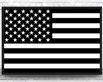 Black And White American Flag Art Print Poster USA