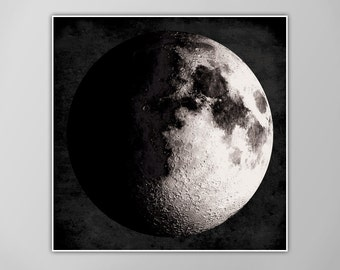Giant Moon Poster, Moon Art Print, Square Moon Print, Wall Art, Home Decor, Luna Poster, Waxing Gibbous Moon Print, Luna Moon, Moon Print