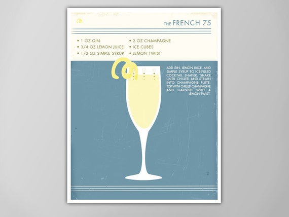 French 75 Cocktail Poster Retro Food Drink Poster Vintage Style Graphic Art Mid Century Modern Design Poster Cocktail Print French 75