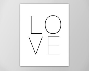 Love Art Print, Minimalist Art, Black and White Print, Love Prints, Wall Decor, Home Decor, Love Print, Love Print, Minimalist Art, Love Art