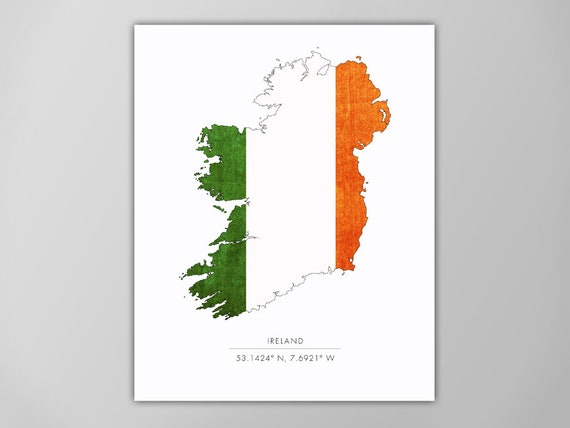 Print Map Of Ireland.Ireland Map Ireland Print Ireland Map Print Ireland Art Print Flag Print Travel Print Irish Map Irish Flag Ireland Coordinates Print
