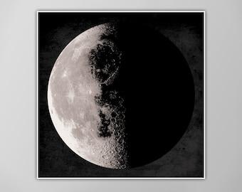 Giant Moon Poster, Moon Art Print, Square Moon Print, Wall Art, Home Decor, Luna Poster, Half Moon Print, Moon Print, Luna Moon, Moon Print