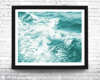 Beach Art Print, Ocean Waves, Coastal, Beach House Decor, Aqua Wall Art, Blue Beach Print, Coastal Wall Art, Blue Waves Poster, Summer Decor