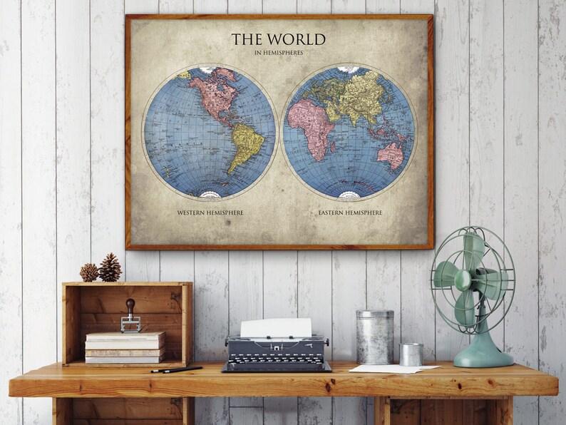 69b61c03d6cc1 World Map Poster World in Hemispheres Map Print World Map