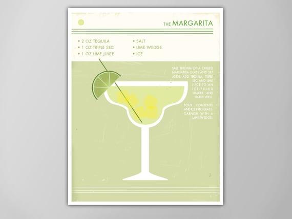 Margarita Cocktail Print Retro Food And Drink Poster Vintage Style Cocktail Art Mid Century Modern Design Poster Margarita Art Print