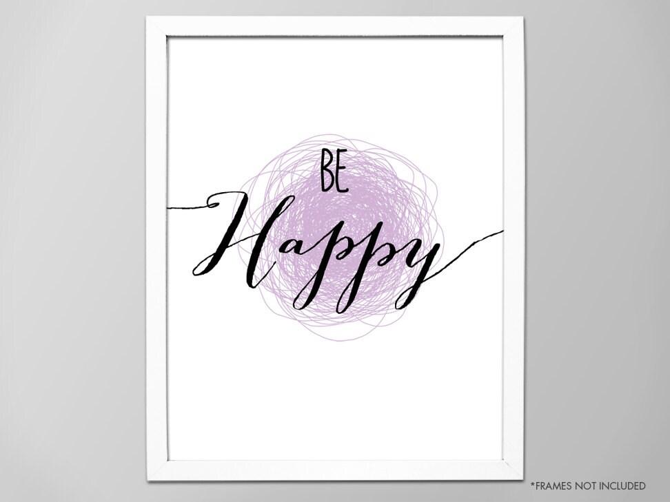 Inspirierende Zitat Glücklich sein Kunstdruck   Etsy