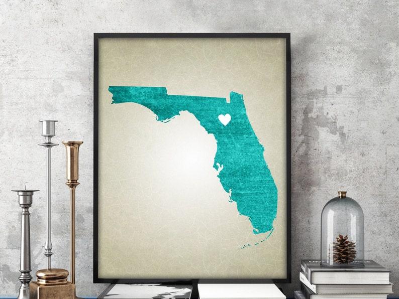 Florida Karte Drucken.Florida State Karte Drucken Home Town Karte Drucken Florida Druck Wählen Sie Ihre Stadt Farbe Benutzerdefinierte State Map Druck Florida Karte