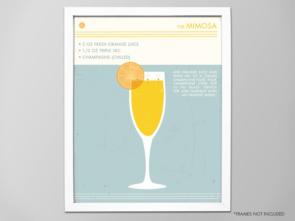 Mimosen Cocktail Poster Retro-Essen trinken Cocktail Art   Etsy