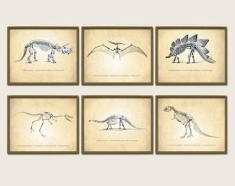 Dinosaur Print Set of 6, Natural History Prints, Kids Room, Dinosaur Prints, Six Dinosaurs Print Set, Dinosaur Prints, Dinosaur Art Prints