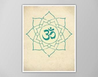 Om Lotus Print, Lotus Art Print, Yoga Decor, Aum Lotus Flower Poster, Yoga Wall Art, Om in Lotus Print, Om Lotus Flower Poster, Yoga Symbols