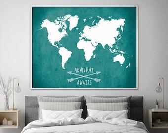 Chalkboard world map large size travel world map world map poster adventure awaits world map travel map world map home gumiabroncs Choice Image