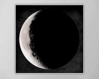 Giant Moon Poster, Moon Art Print, Square Moon Print, Wall Art, Home Decor, Luna Poster, Waning Crescent Moon Print, Luna Moon, Moon Print