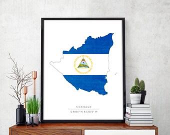 NICARAGUA Map, Nicaragua Print, Nicaragua Map Print, Nicaragua Art Print, Flag Print, Map Print, Map Poster, Nicaraguan Flag, Coordinates