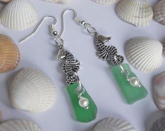 Green sea glass earrings - seahorse earrings - beach glass dangle earrings.
