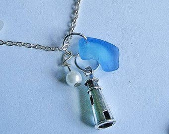 Lighthouse necklace. Blue beach glass necklace - Sea glass necklace seaglass jewelry.
