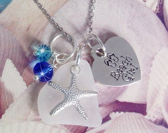 Beach Girl Necklace. Sea glass necklace with silver  beach girl tag. Beach jewelry.