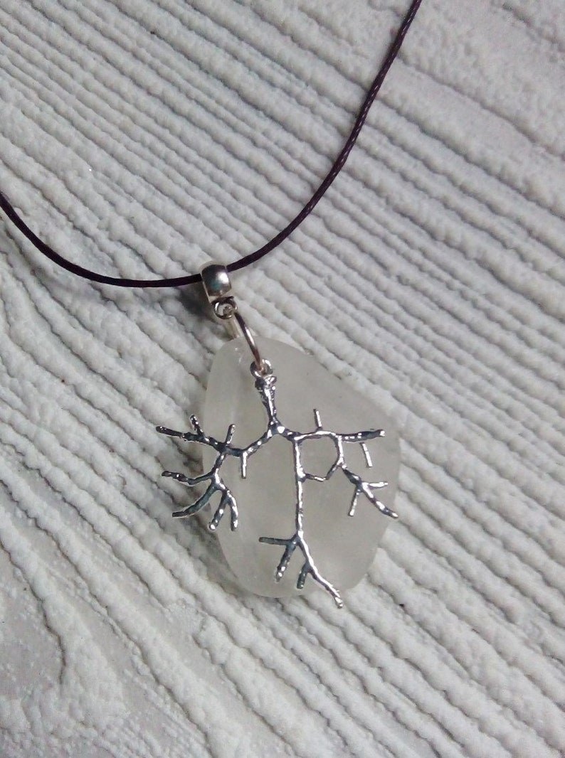 Frosty white sea glass and silver branch necklace beach glass jewelry Sea glass necklace..Eco friendly gift for her. Sea glass necklace