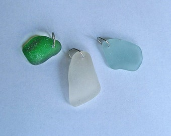 Sea glass charm pendant. You choose. Genuine Green, white or aqua. Sea glass jewelry
