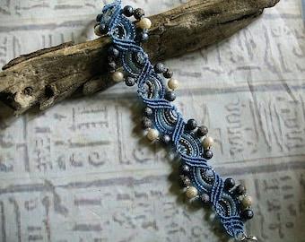 Beaded micro macrame bracelet in blue pearls. Gypsy macrame jewelry.
