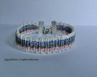 Micro macrame bracelet. Beaded multi colored striped macrame jewelry.