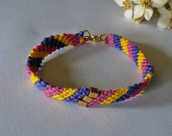 Friendship bracelet in bright neons.