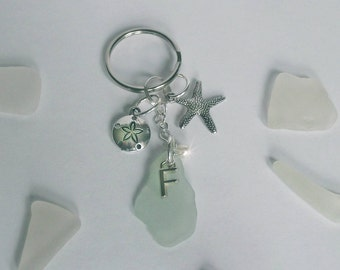 Personalized keychain - Monogram sea glass key ring. Purse fob. Sea glass gift.